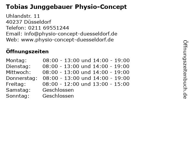 Physio-Concept in Düsseldorf: Adresse und Öffnungszeiten