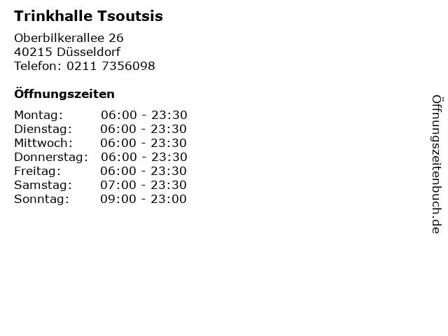 Trinkhalle Tsoutsis in Düsseldorf: Adresse und Öffnungszeiten