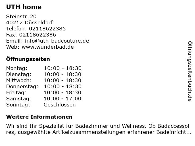 UTH home in Düsseldorf: Adresse und Öffnungszeiten