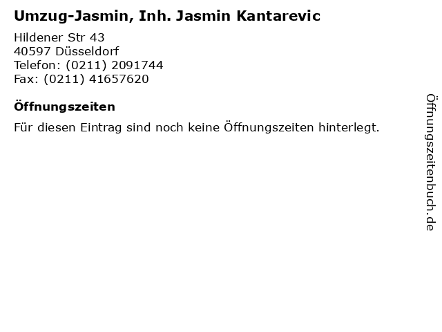 Umzug-Jasmin, Inh. Jasmin Kantarevic in Düsseldorf: Adresse und Öffnungszeiten