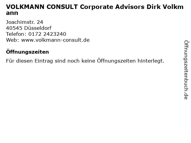 VOLKMANN CONSULT Corporate Advisors Dirk Volkmann in Düsseldorf: Adresse und Öffnungszeiten