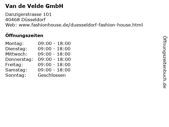Van de Velde GmbH in Düsseldorf: Adresse und Öffnungszeiten