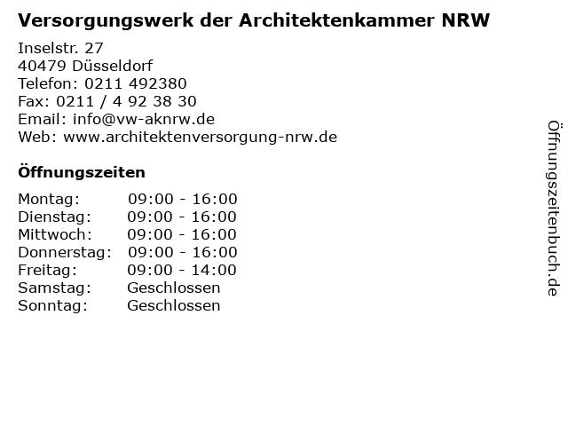 Versorgungswerk der Architektenkammer NRW in Düsseldorf: Adresse und Öffnungszeiten