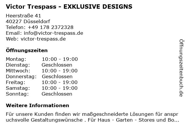 Victor Trespass - EXKLUSIVE DESIGNS in Düsseldorf: Adresse und Öffnungszeiten