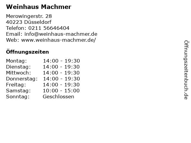 Weinhaus Machmer in Düsseldorf: Adresse und Öffnungszeiten