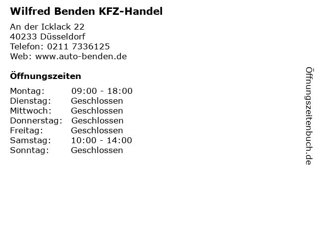Wilfred Benden KFZ-Handel in Düsseldorf: Adresse und Öffnungszeiten