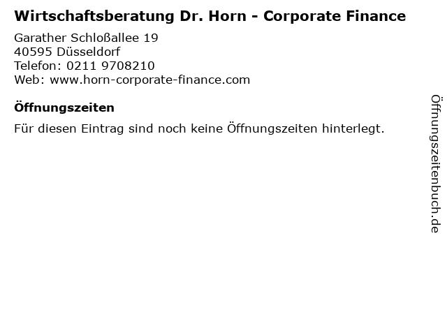 Wirtschaftsberatung Dr. Horn - Corporate Finance in Düsseldorf: Adresse und Öffnungszeiten