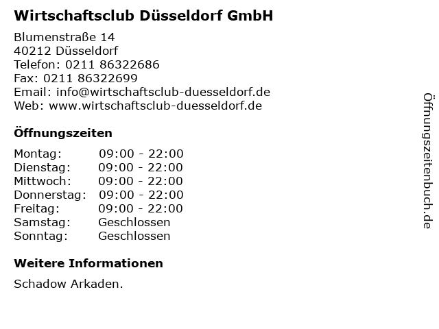 Wirtschaftsclub Düsseldorf GmbH in Düsseldorf: Adresse und Öffnungszeiten