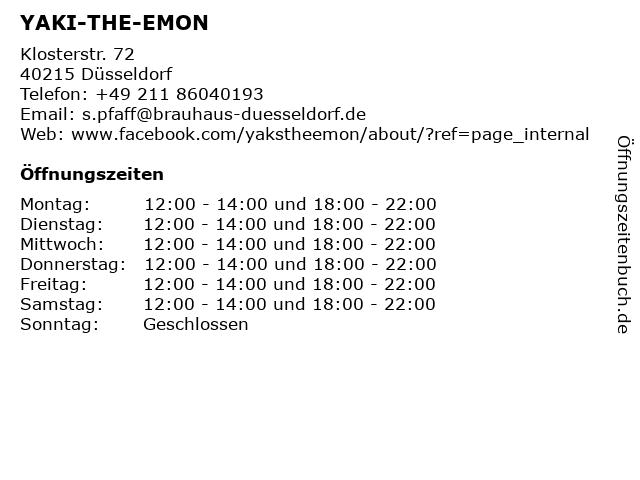 ᐅ öffnungszeiten Yaki The Emon Klosterstr 72 In Düsseldorf