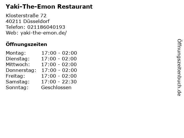 ᐅ öffnungszeiten Yaki The Emon Restaurant Klosterstraße 72 In