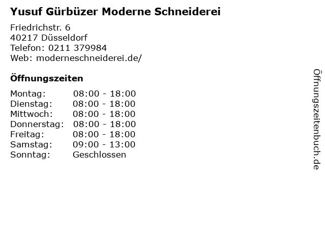 Yusuf Gürbüzer Moderne Schneiderei in Düsseldorf: Adresse und Öffnungszeiten