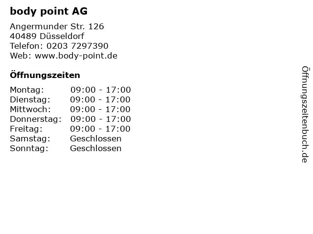 body point AG in Düsseldorf: Adresse und Öffnungszeiten