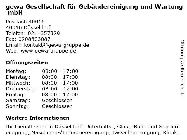 gewa Gesellschaft für Gebäudereinigung und Wartung mbH in Düsseldorf: Adresse und Öffnungszeiten