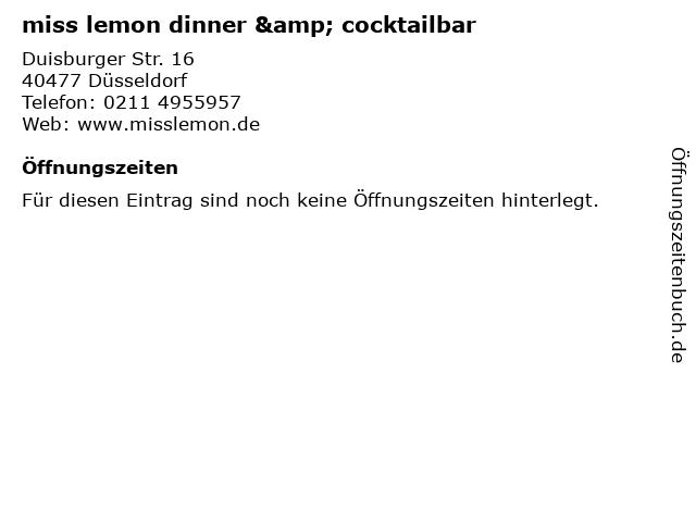 miss lemon dinner & cocktailbar in Düsseldorf: Adresse und Öffnungszeiten
