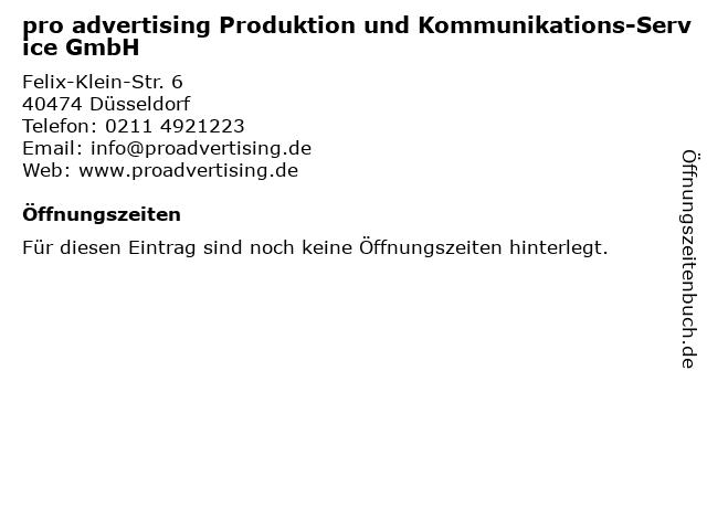 pro advertising Produktion und Kommunikations-Service GmbH in Düsseldorf: Adresse und Öffnungszeiten