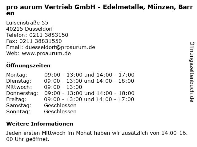 pro aurum Vertrieb GmbH - Edelmetalle, Münzen, Barren in Düsseldorf: Adresse und Öffnungszeiten