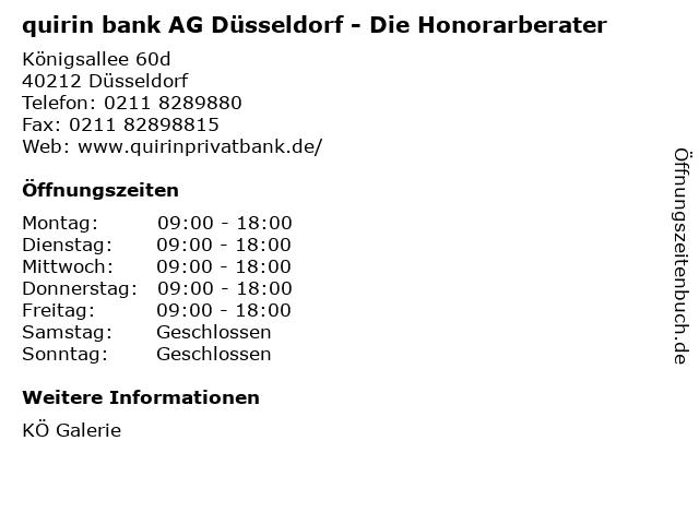 quirin bank AG Düsseldorf - Die Honorarberater in Düsseldorf: Adresse und Öffnungszeiten