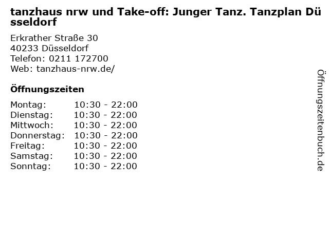 tanzhaus nrw und Take-off: Junger Tanz. Tanzplan Düsseldorf in Düsseldorf: Adresse und Öffnungszeiten