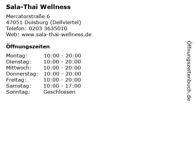 Sala-Thai Wellness in Duisburg (Dellviertel): Adresse und Öffnungszeiten