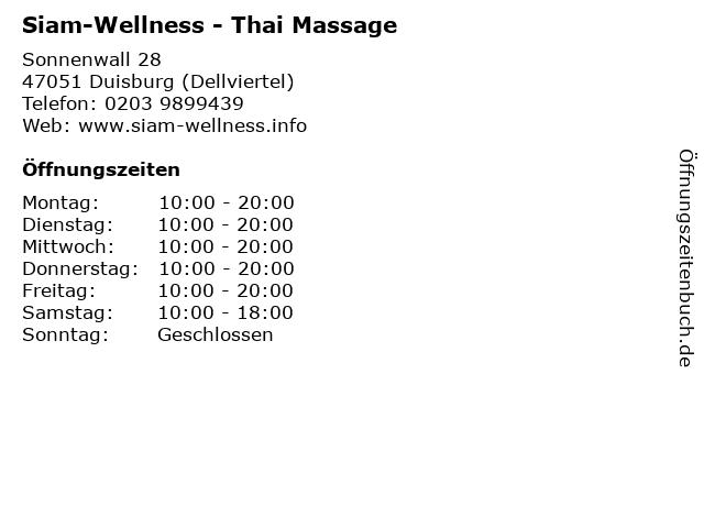 Siam-Wellness - Thai Massage in Duisburg (Dellviertel): Adresse und Öffnungszeiten