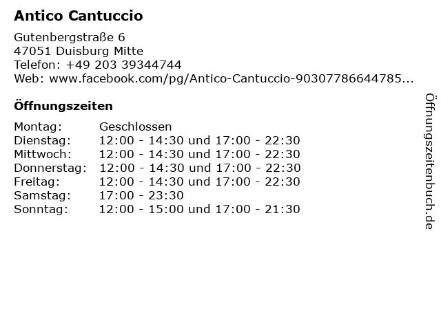 Antico Cantuccio in Duisburg Mitte: Adresse und Öffnungszeiten