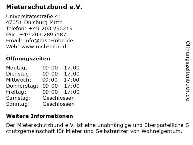 Mieterschutzbund e.V. in Duisburg Mitte: Adresse und Öffnungszeiten