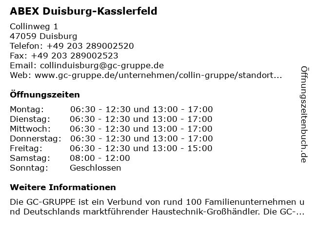 ABEX Duisburg-Kasslerfeld in Duisburg: Adresse und Öffnungszeiten