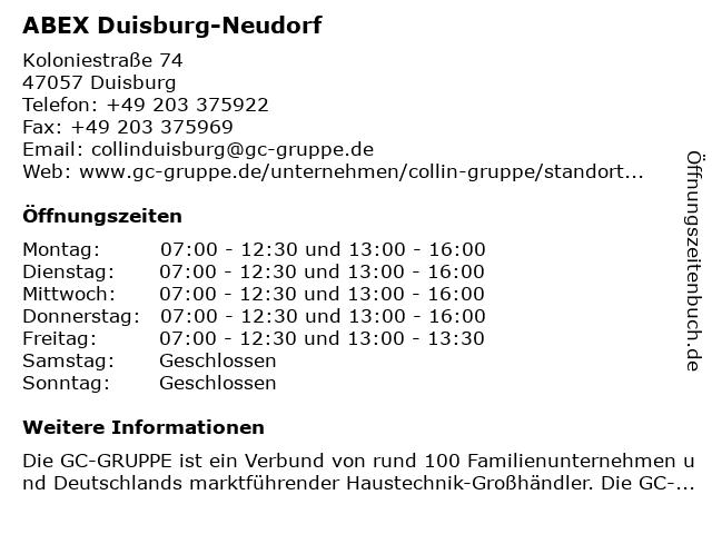 ABEX Duisburg-Neudorf in Duisburg: Adresse und Öffnungszeiten