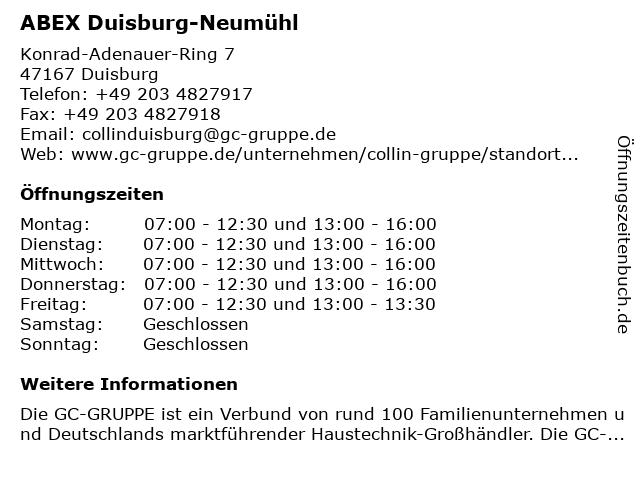 ABEX Duisburg-Neumühl in Duisburg: Adresse und Öffnungszeiten