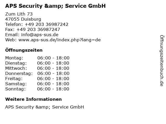 APS Security & Service GmbH in Duisburg: Adresse und Öffnungszeiten