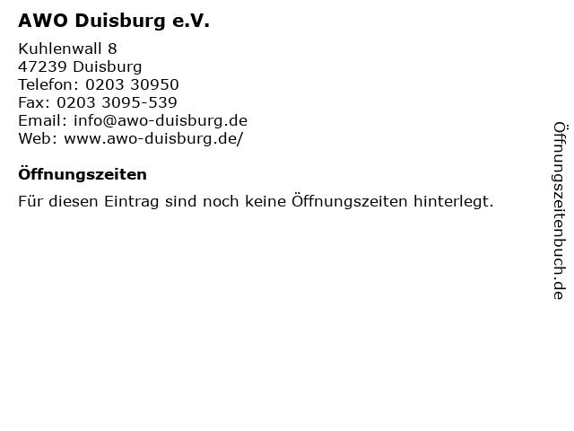 AWO Duisburg e.V. in Duisburg: Adresse und Öffnungszeiten