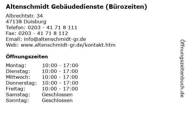 Altenschmidt Gebäudedienste (Bürozeiten) in Duisburg: Adresse und Öffnungszeiten