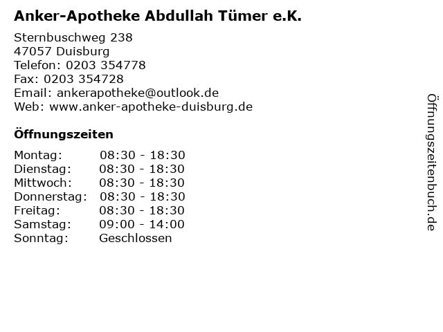 Anker-Apotheke Abdullah Tümer e.K. in Duisburg: Adresse und Öffnungszeiten