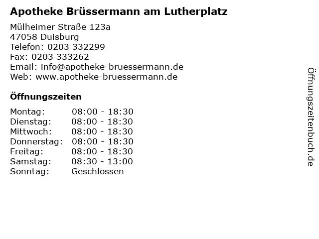 Apotheke Brüssermann am Lutherplatz in Duisburg: Adresse und Öffnungszeiten