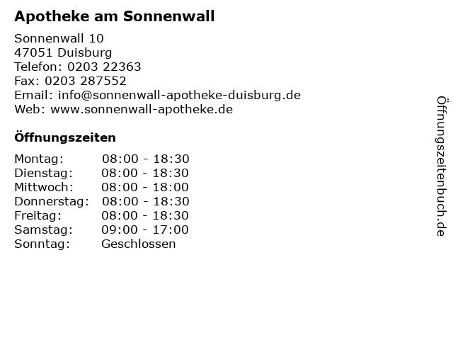 Apotheke am Sonnenwall in Duisburg: Adresse und Öffnungszeiten