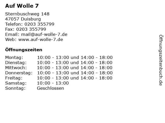 Auf Wolle 7 in Duisburg: Adresse und Öffnungszeiten