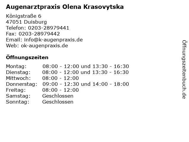 Augenarztpraxis Olena Krasovytska in Duisburg: Adresse und Öffnungszeiten