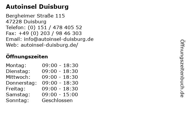 Autoinsel Duisburg In Adresse Und Offnungszeiten