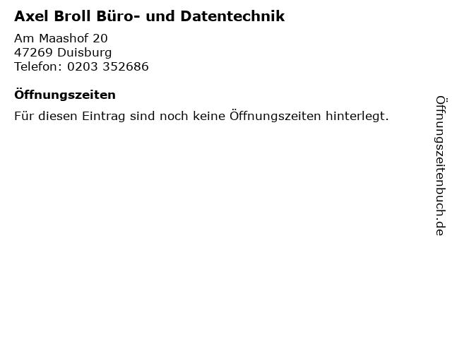 Axel Broll Büro- und Datentechnik in Duisburg: Adresse und Öffnungszeiten