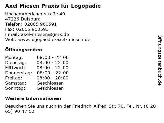 Axel Miesen Praxis für Logopädie in Duisburg: Adresse und Öffnungszeiten