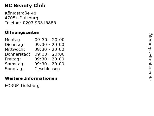 BC Beauty Club in Duisburg: Adresse und Öffnungszeiten