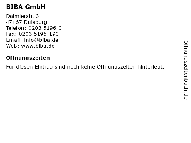 BIBA GmbH in Duisburg: Adresse und Öffnungszeiten