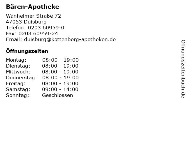 Bären-Apotheke in Duisburg: Adresse und Öffnungszeiten