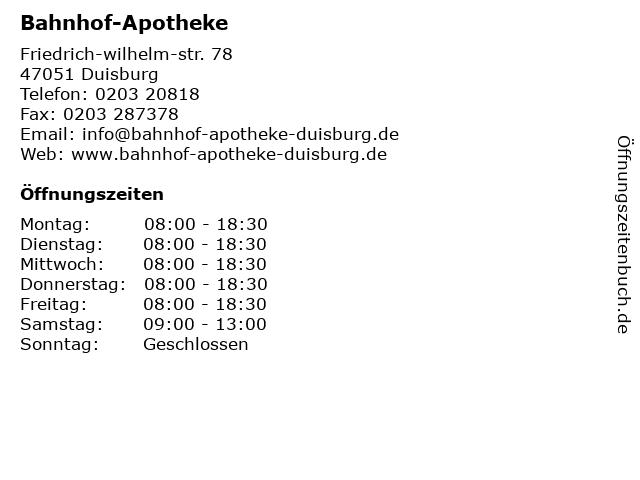 Bahnhof-Apotheke in Duisburg: Adresse und Öffnungszeiten