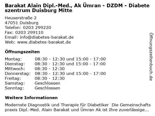 Barakat Alain Dipl.-Med., Ak Ümran - DZDM - Diabeteszentrum Duisburg Mitte in Duisburg: Adresse und Öffnungszeiten