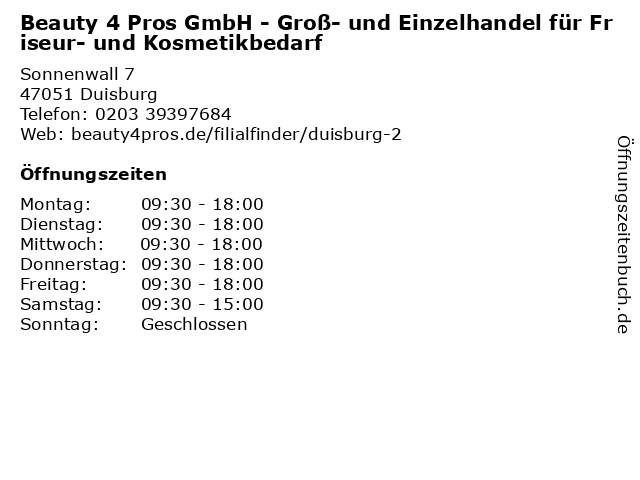 Beauty 4 Pros GmbH - Groß- und Einzelhandel für Friseur- und Kosmetikbedarf in Duisburg: Adresse und Öffnungszeiten
