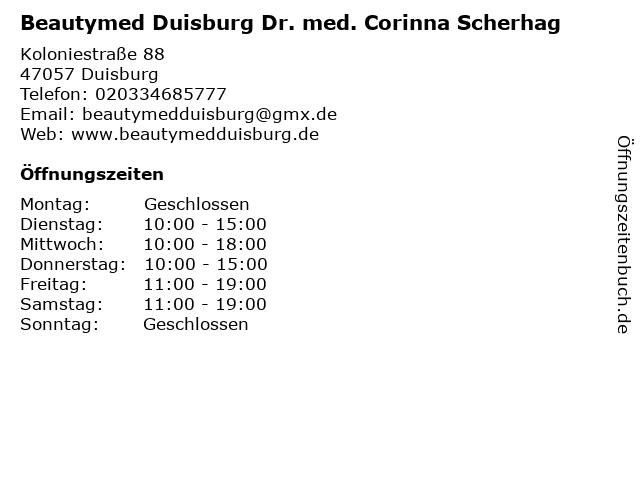Beautymed Duisburg Dr. med. Corinna Scherhag in Duisburg: Adresse und Öffnungszeiten