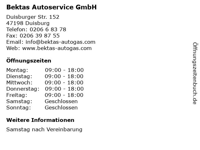 Bektas Autoservice GmbH in Duisburg: Adresse und Öffnungszeiten