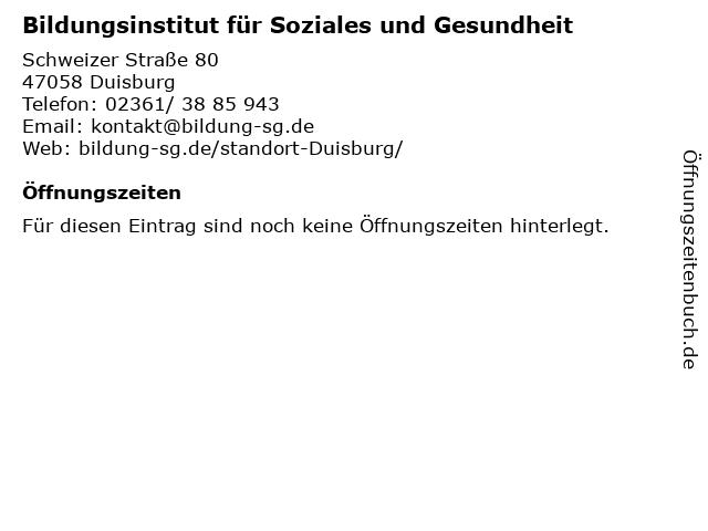 Bildungsinstitut für Soziales und Gesundheit in Duisburg: Adresse und Öffnungszeiten