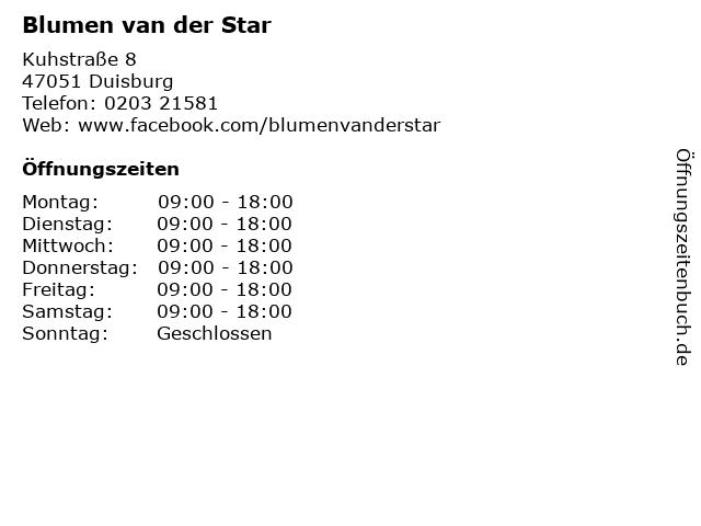 Blumen van der Star in Duisburg: Adresse und Öffnungszeiten
